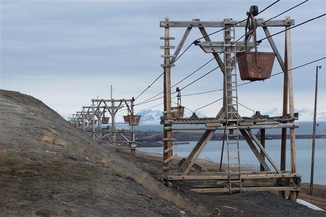 Bevarede rester af tovbanen fra den sidste i driftværende grube, der hed grube 3.