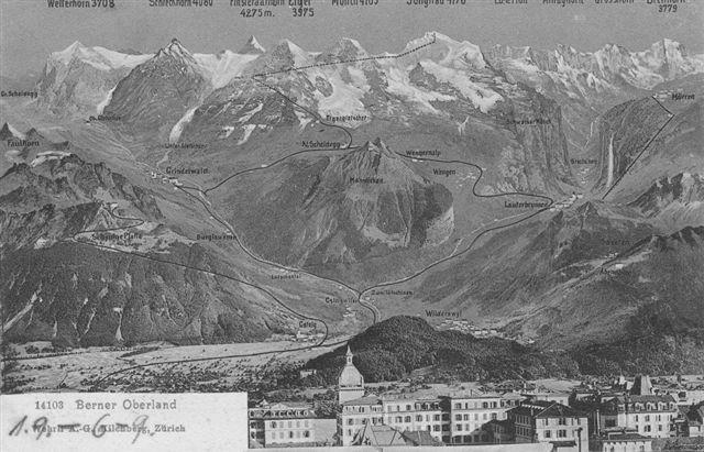 Gammelt postkort fra Edits bedsteforældre fra 1907 med perspektiv af Berner Oberland set fra nord mod syd. I baggrunden Eiger, 3970 meter til venstre og Mönch,4099 meter i midten og Jungfrau, 4158 til højre. På dansk Uhyret, Munken og Jomfruen. Grindelwald, hvor vi boede ligger til venstre i dalen. Jernbanen ses ført helt til toppen af Jungfrau, men det måtte man opgive. Den kom kun til Jungfraujoch i 3454 meters højde.