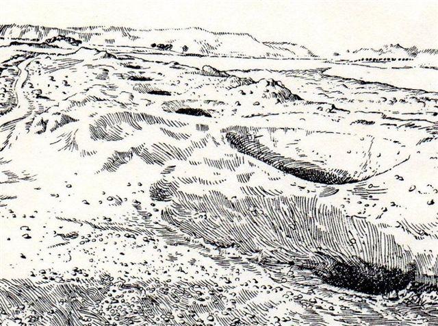 Tegning, hvor man bedre end på fotos ser rækken af huller og jorddynger, der røber karezen i undergrunden.