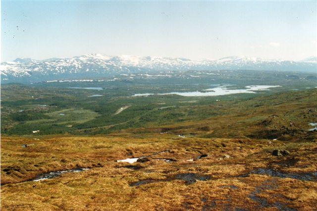 Fra en af gåturene. Nede i dalen ses hovedvejen til Narvik, og malmbanen anes. Ved banen til venstre et kolonnehus og Loktatjåkka Station til højre. Måske kan du også øjne et snegalleri? Vandet er Torneelv.