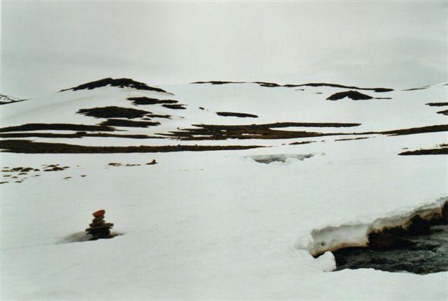 Denne elv turde vi ikke passere hverken ved almindelig vadning eller ved at gå over snedækket. Vi var måske endda heldige, at vi så den? Bemærk varden. Vi skulle have været over fjeldene i baggrunden ned til Malmbanen, men her vendte vi.