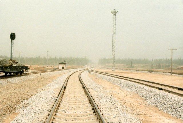 Den nordøstlige del af stationsområdet i Kashgar under anlæg.
