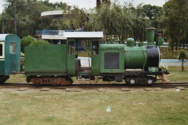 Havde man ikke fået nok af en tur med enskinnebanen kunne man få en tur med denne 2 fods parkbane med et diesellokomotiv forklædt som damplokomotiv.