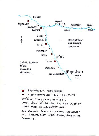 Legionslejre, halve, hele og dobbelte samt de nye lejre langs Lippefloden. De lejre uden navne er endnu ikke lokaliseret.