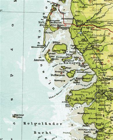 Kortet over Vestslesvig viser de nævnte lokaliteter med Helgoland i Sydøst, Pellworm i midten og Südfall, Süderoog og Norderoog Syd og vest for.