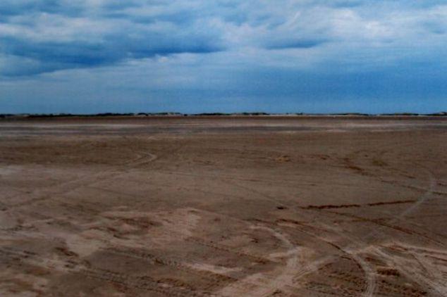 Sandvade på Rømø 2009. Vaden her er endog tør ved normalt højvande. Kun ved storm-, spring- og nipflod bliver den overskyllet. der er våd efter sidste overskylning. Når den er tør, har bilfolket, som du ser på sporene, svært ved at holde sig fra den. Jeg har endog set krabber nedgravet i sandet blive knust af bildæk!