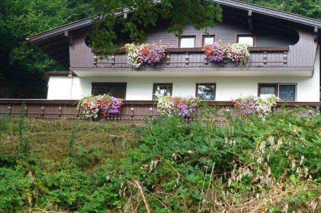 Alpehus med blomster i overflod i Zillertal sikkert set fra toget. Bemærk, at tyrolerbegonier er fortrængt af mangefarvede petunia. Zillertal er en sidedal til Inndalen øst for Innsbruck og ikke (her) et værtshus i Hamburg.