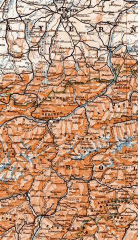 Kort fra før 1914 over over området mellem München, Innsbruck og Bozen. Vi benyttede Kufstein som grænsestation mellem Tyskland og Østrig.