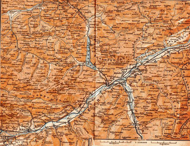 Kort fra før 1014 over Jenbach med Achenseebahn mod nord og en del af Zillertalbahn med syd. På den tid stavedes Tal, dal ofte Thal.