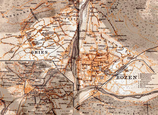 Kort fra før 1914 over Bozen og Rittnerbahn. Den italienske bydel er den, der her hedder Gries. Bemærk, at Rittnerbahn fører helt ind i byens centrum. Italienerne kalder byen Bolzano.