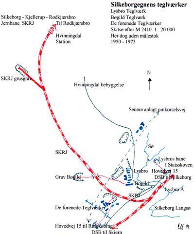Teglværkerne vest for Silkeborg. Man ser banen mod Herning og Grindsted samt Silkeborg - Kjellerup - Rødkærsbro Jernbane, SkRJ samt et udvalg af den tid veje. Kortet er dateret lige før SKRJ lukkede, men viser i øvrigt teglværksspor, der ikke ikke alle fandtes samtidigt!