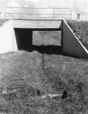 600 mm banen til graven førte tidligere gennem denne viadukt fra 1940, men i 1966 benyttedes en anden grav, hvortil sporet krydsede landevejen i niveau.
