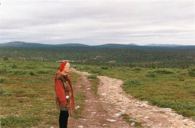 Så er vi på vej op i fjeldene i Kokkonen Nationalparken. Vi er stedvis over skovgrænsen Lige her lå der en rype halvt i vinterdragt (hvid) og halv brun (sommerdragt,) men vi gik ikke tæt på den for at fotografere, for den var tydeligvis ikke stolt ved situationen.