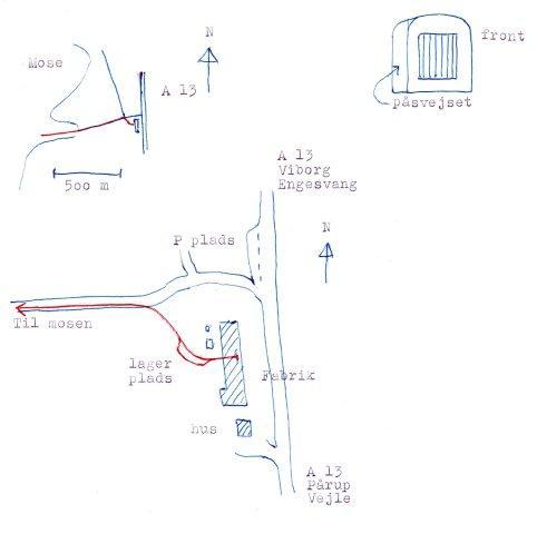 Strøelsesfabrikkens sporplan samt detalje af sporene på værket. Indsat en lille skitse af påsvejsningen af lokomotivets motorhus.