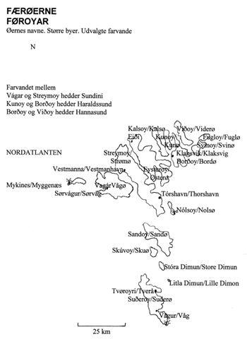 Geografisk oversigtskort over Færøerne