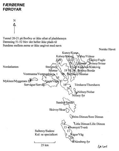 Kort over tunneler på Færøerne. kortets numre matcher tekstens numre. Der kendes intet til eventuel brug af industribaner ved anlægget.