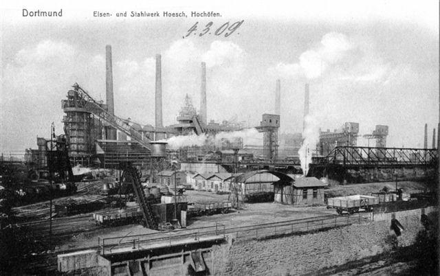 Også Dortmund havde en imponerende højsovnskulise. Her Hoesch i 1909, et af byens tre værker.