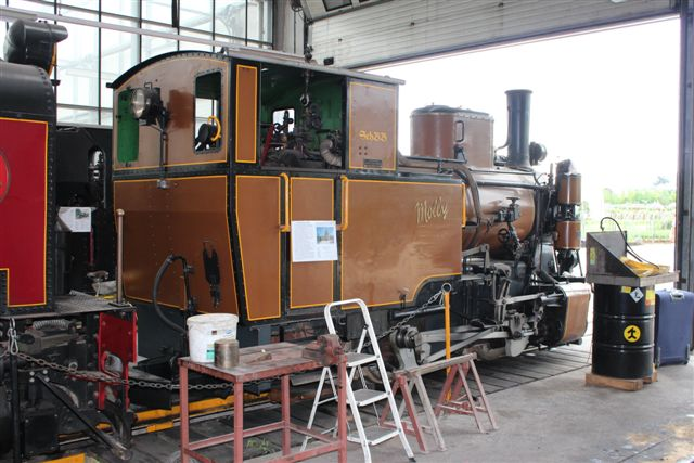 """Enkelte lokomotiver af lokal tilvirkning var der også. Her """"Molly,"""" der ikke havde biologisk navn. Hun er SLM 3834/1944 fra Winterthur."""