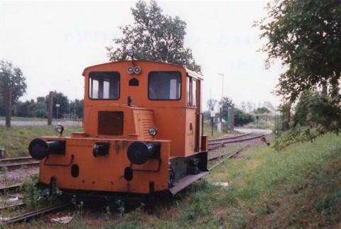 Zerawell KG & Co. uden nr., O&K 25225/19??. Bemærk, at sporet er afbrudt, og lokomotivet hensat. Minden 1991.