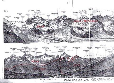 Udsigten fra Gornergrat over Mont Rosa og omliggende toppe og underliggende gletschere. Tegningen er fra 1920, og ved sammenligning med mine fotos fra 2009 ses, at gletscherenes overflade er svundet til omkring 50 %. Og så er der stadig politikere, der ikke kan få øje på klimaforandringer! På billederne har jeg tegnet det europæske kontinent, det afrikanske kontinet og Tethyshavets bund ind i bjergene. Det ses, at Tvillingerne, Castor og Pollux fra den romerske mytologi ikke geologisk er tvillinger!