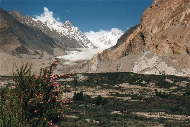 I baggrunden bjerget Pasu og Pasugletscheren samt den sidste vildrose inden Kina. Toppene her når 7½ kilometer.