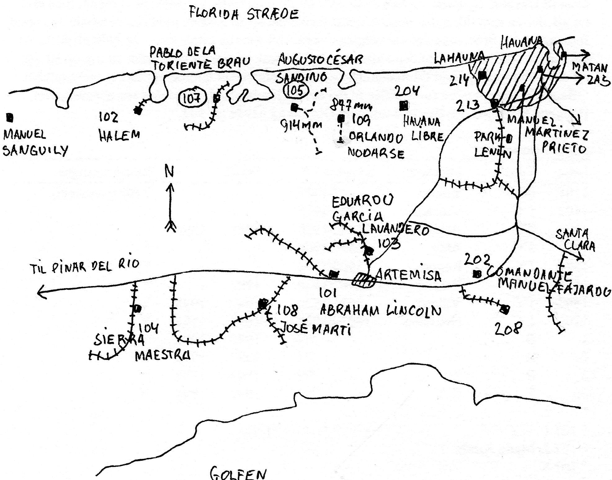 Kort, det eneste, jeg fik tegnet, over møllerne syd og vest for Havana. Statsbaner er fuldtoptrukte. MINAZ baner i normalspor har sveller, men de punkterede er MINAZ i smalspor. Indbollede møllenumre står ved besøgte møller.