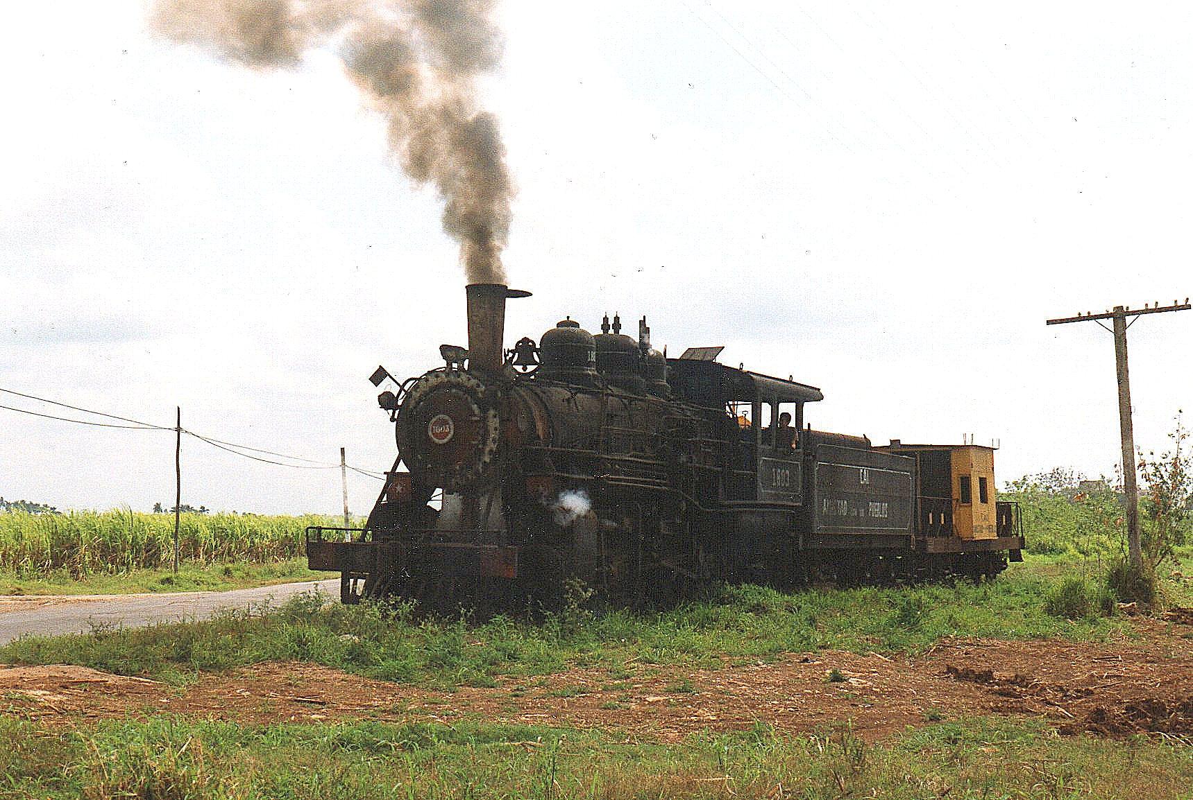 Vi kørte ud til vejen, fotograferede en ko og toget og returnerede så igen. Kun lokomotivet og caboosen med os entusiaster stående deltog.