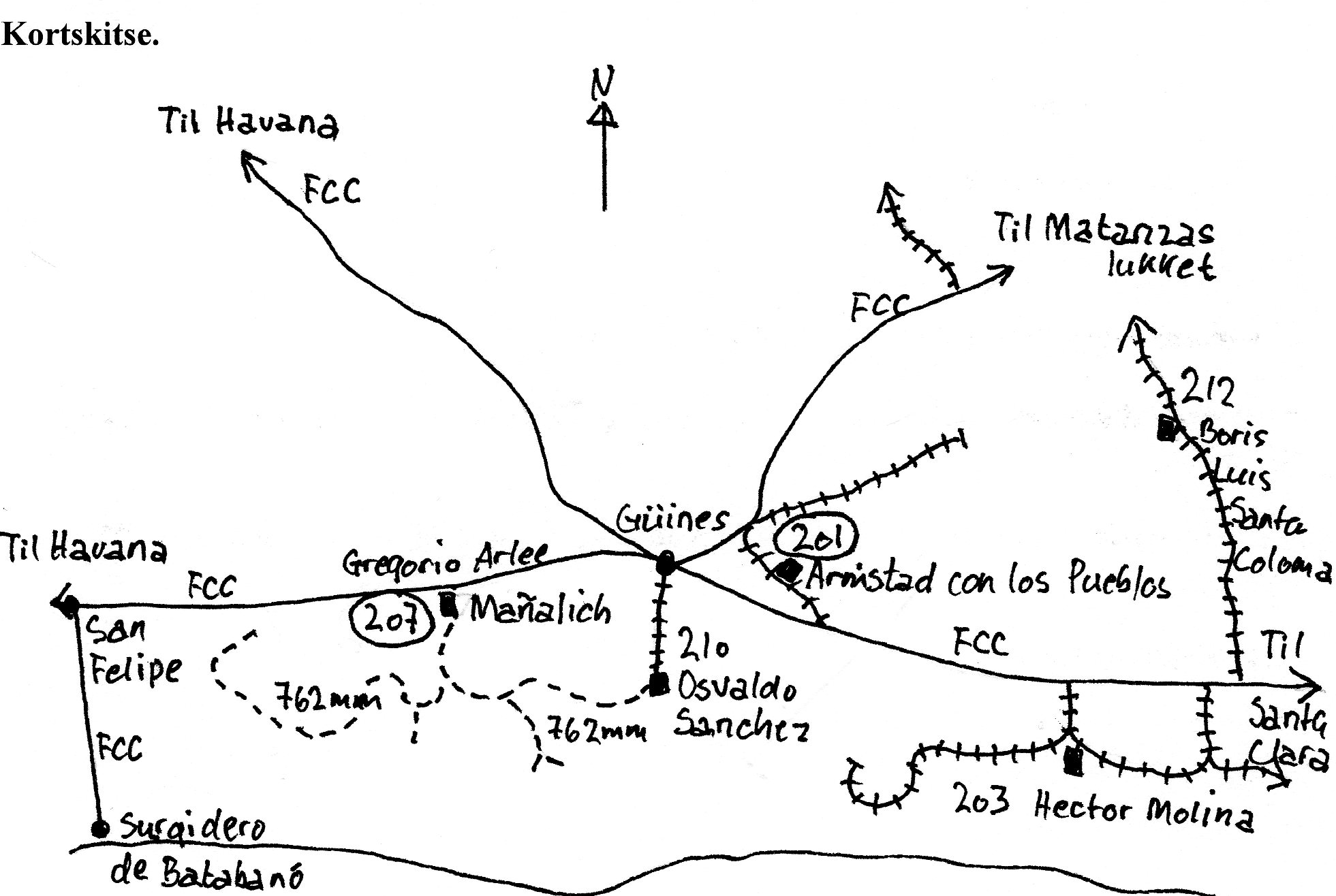Kort, et af de eneste, jeg fik tegnet, over møllerne syd og vest for Havana. Statsbaner er fuldtoptrukte. MINAZ baner i normalspor har sveller, men de punkterede er MINAZ i smalspor. Indbollede møllenumre står ved besøgte møller.