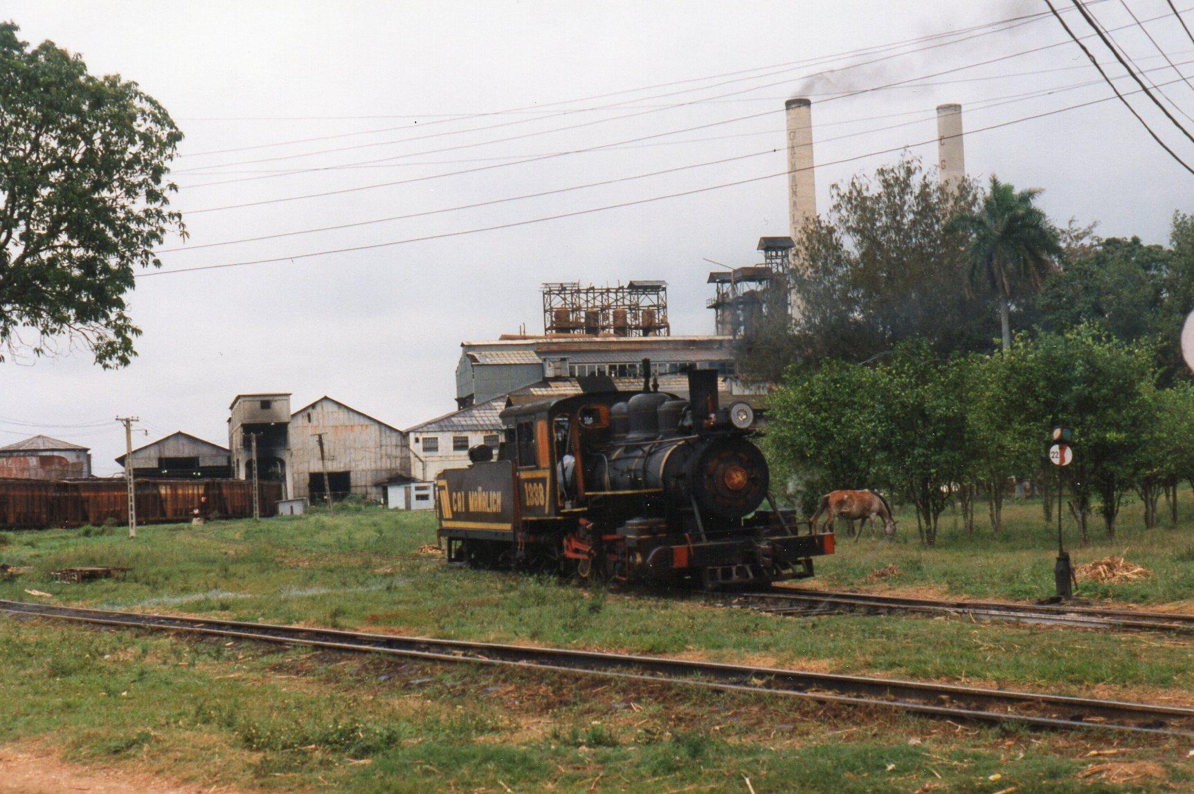 CAI 207 Gregorio Arlee Mañalis 1307, Baldwin 53685/1920. 1'D. 762 mm. Vi havde ikke købt adgang til fabrikken, men uden for hegnet var godt indkig. Her smalspordelen. Normalsporet ligger til venstre og vogne anes.