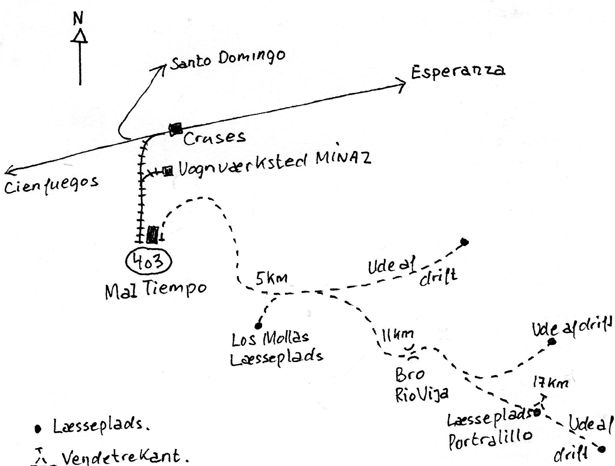 Mens de allerede viser lokomotivers møller ses på kort i normalspordelen bringes her et kort over Mal Tiempos bane, hvor beliggenheden kun angives som øst for Cienfuegos. Signaturer er som vanligt.