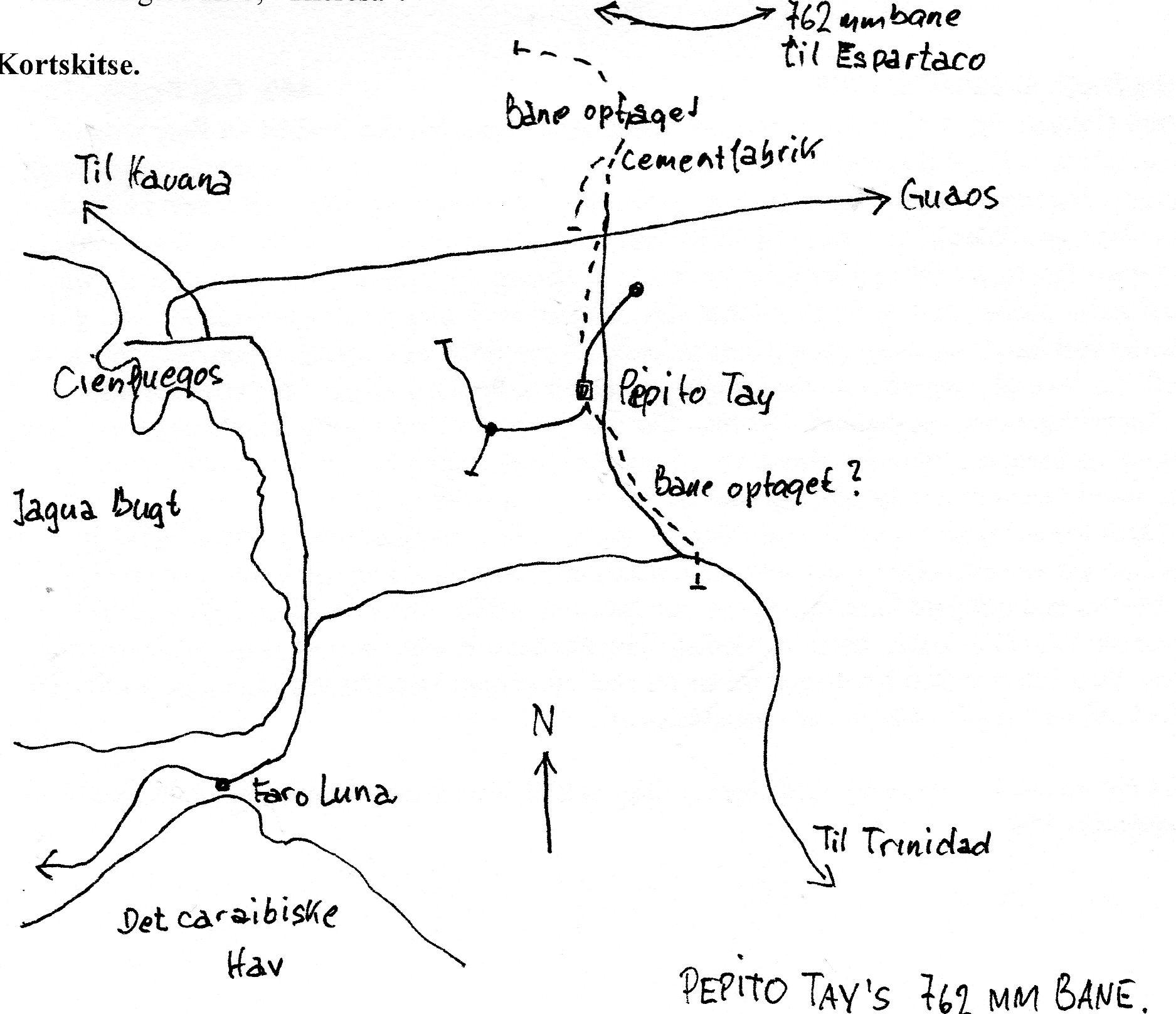 Kortskitse for CAI 443 Pepito Tay. Her stregerne veje. Pepito Tays bane er også fuldt optrukket, men ganske kort. To større nedlagt grene er også markeret. Øverst ses en anden smalsporbane, hvor vi dog ikke var.