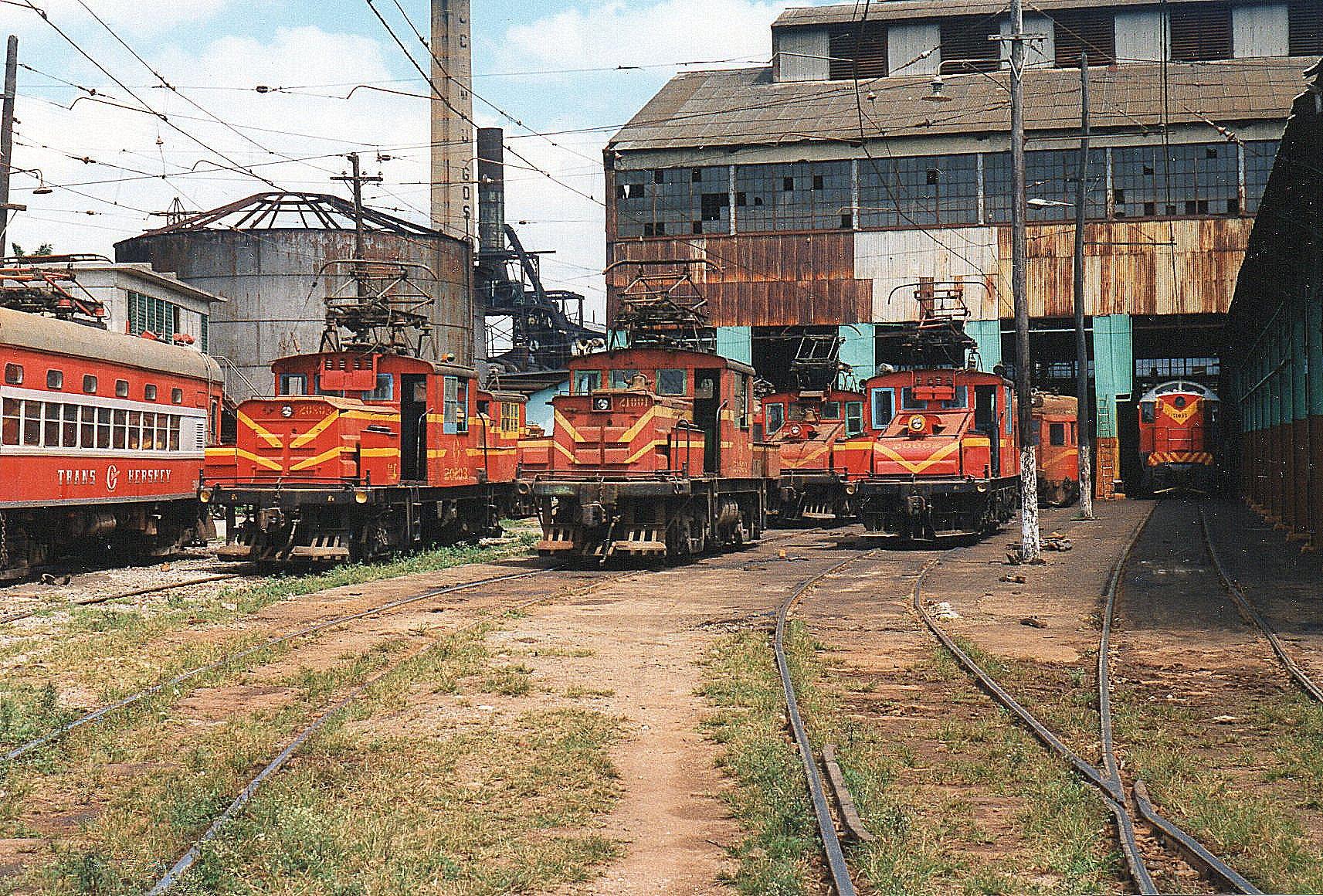Udsigt over depot og værksted. Fra venstre FCC 3008, brill 1919, FCC 20803, FCC 21201, GE 1920, FCC2082, GE 10500/1927 og FCC 51035, en russisk TEM-4K.