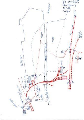 Håndtegnet skitse af fyldbanen fra områderne syd for fjorden til Jernbanegade inde i Kolding. Søndre Havnegade kom til at ligge på det tidligere åforløb. De gamle forbindelsesgader til havnen med bomme over banen  er ikke indteget. Nord er til venstre på skitsen, som jeg har tegnet for mange år siden.