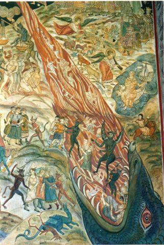 Min første tanke, da jeg i Domkirken så dette kalkmaleri, var, om Elmelundemaleren også havde været her. Min næste tanke var, at det var dog egentlig utroligt så lidt middelalderens kalkmalerier udviklede sig, og min tredje tanke var, at det var godt, jeg ikke hver søndag skulle sidde og se på det billede. Elmelundemaleren har blandt andet udsmykket flere kirker på Møen, og på nogle af kalkmalererne har maleren malet kongekrone og bispehue på nogle af de fortabte, djævlene slæber af sted med. Det er den rumænske fætter trods alt ikke. Han har nok ikke turdet.