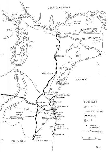 Kortet er fra 1987 og viser netop landet mellem Sortehavet og Donau kaldet Dobrogea. Siden er betegnelsen USSR faldet bort, idet USSR, Sovjetunionen er opløst og Ukraine er blevet selvstændigt.