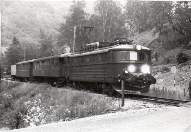 Mælketoget med mælkevognen bagerst. Billedet er taget lige efter stationen i Flåm. 1983.