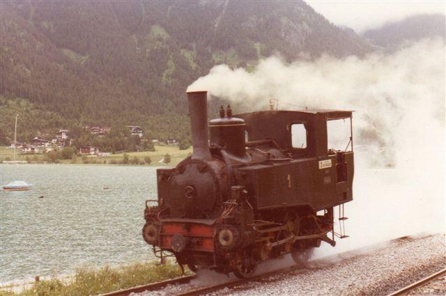 Achenseebahn 1, Florisdorf 701/1889 ved Achensee under omløb 1980. Lokomotivet var da 91 år.