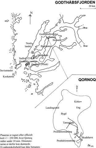 Skitse af Qornoqs beliggenhed samt banens forløb.