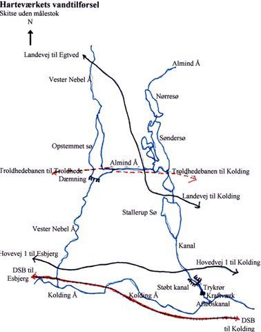 Kortskitse over vandtilførslen til Harteværket. Hvor der var dæmninger og kanaler, må der formodes at have været tipvognsbaner?