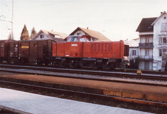 Sporbygningsfirmaet Sersa Bm 847 955-2, Trudy, MaK 800 113/1958. Type 800 D. Tidligere Lollandbanen M 33. Til Sersa 1990 via OnRail. Foto: Arkiv Tom Lauritsen.
