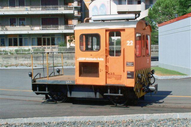 RhB Tm 2/2 22. Denne er bygget mellem 1957 og 69 af Robert Aebi, der også kalder sig Raco. Foto i Tirano i Italien 2009.