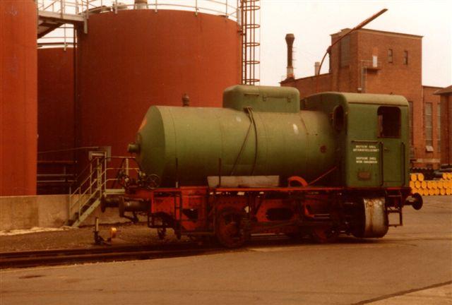 Deutsche Shell AG, Werk Grasbrook 1, Krupp 3108/1953. Bfl. Første gang så jeg lokomotivet i 1983. Her i 1987 var det stadig i drift, men så var det også slut.