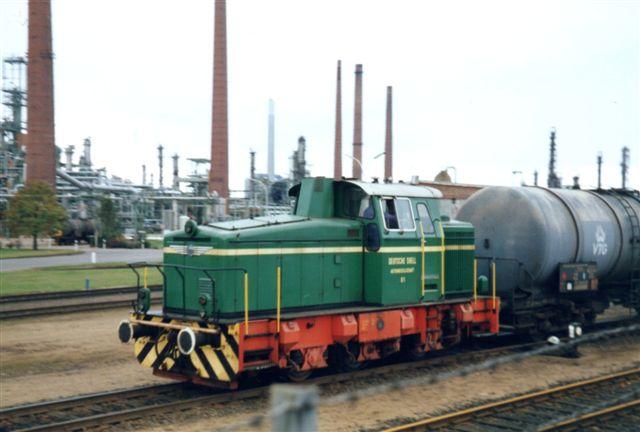 Deutsche Shell 01, Krauss-Maffei 19459/1971, Type. M 500 C. Foto udefra 1985. Derfor lidt hegn for neden.