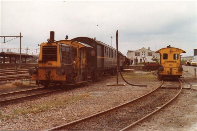 SGB hvde kun ét kørekart damplokomotiv, og det havde nedbrud, så vi kørte med SGH 284, Werkspoor 728/1936 samt fire store fireakslede stålvogne, der for mig ikke signalerede veteranbane. Det nedbrudte damplokomotiv var SGH 3, Bison, la Meuse 3292/1928.