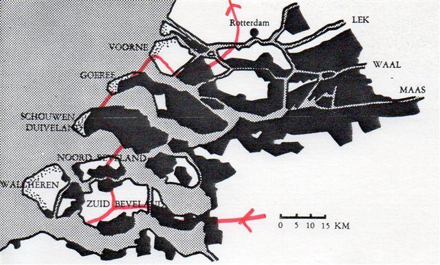 Med sort er markeret de områder syd for Rotterdam ned mod den belgiske grænse, der oversvømmedes ved stormfloden 1953. <med rødt er markeret vor rute. Oosterscheldeprojektet omfatter de to røde indtegninger langs Nordsøen, men også til Walcheren er der bygget ny dæmning med sluse. Tegning fra ukendt kilde.