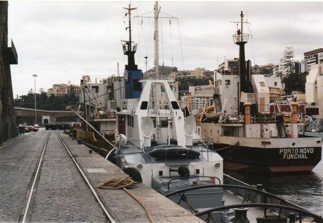 Spor på haven i Funchal 1999. Længere fremme anes et skifte, men parallelsporet mangler. Bag fotografen stod en kran på sporet. Sporvidden varlig ellerstørre end 1435 mm (normalspor.) Muligvis også større en iberisk bredspor, men på Azorerne kørte en tilsvarende bane på over 2 meters sporvidde.