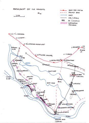 Kortet viser områderne øst for Hamborg og Syd for Bergedorf med veteranbanen, Curslack-vandværket, den nedlagte jernbane i området og gartnerierne med bane. Skitse Bent Hansen 1985.