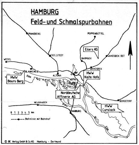Kort der viser beliggenheden af Hamborgs Vandværkers tre anlæg samt Ehlers lokomotivhandel og Norddeutsche Affinerie AG. Kortet er lånt fra Bahn-Express, Verlag GmbH & Co. KG. Det er fra omkring 1985.
