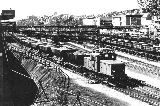 Et formentlig LKAB-lokomotiv af tyoe U? rangerer i Narvik 1969. Foto: S. Thostrup-Christensen.