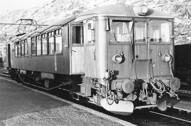 Lokaltrafikken til Bjørnfjell blev varetaget af denne motorvogn, der ikke er data på. Foto: S- Thostrup-Christensen 1969.